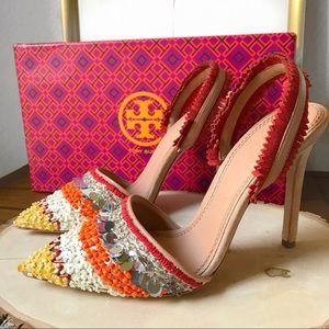 NWB Tory Burch Isle Slingback Pump heels beaded